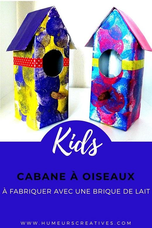 Fabriquer des nichoirs à oiseaux avec une brique de lait, un bricolage pour enfants facile et coloré !