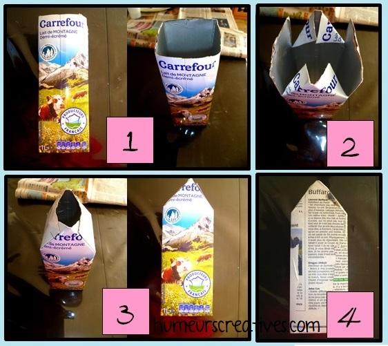 étapes de fabrication pour réaliser une cabane à oiseaux avec une brique de lait