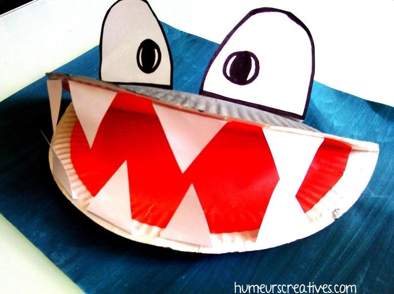 fabriquer un requin avec une assiette en carton