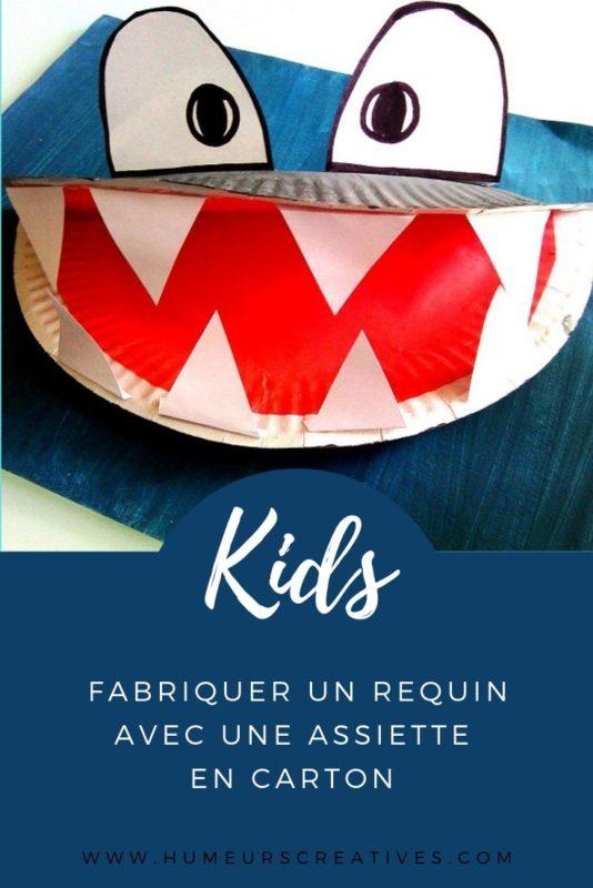 Fabriquer un requin avec une assiette en carton, un bricolage facile pour les enfants