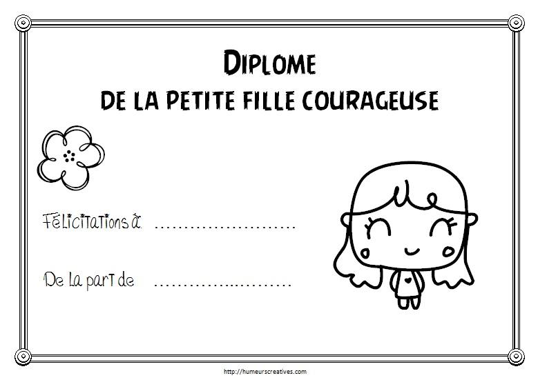 Diplome de la petite fille courageuse