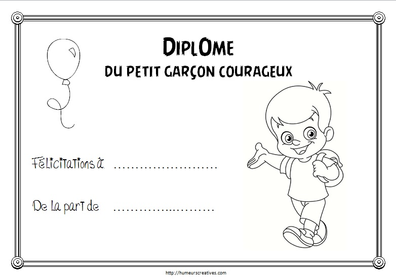 Diplome enfant courageux