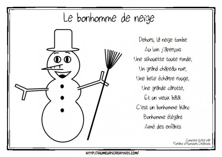 Comptine Le bonhomme de neige