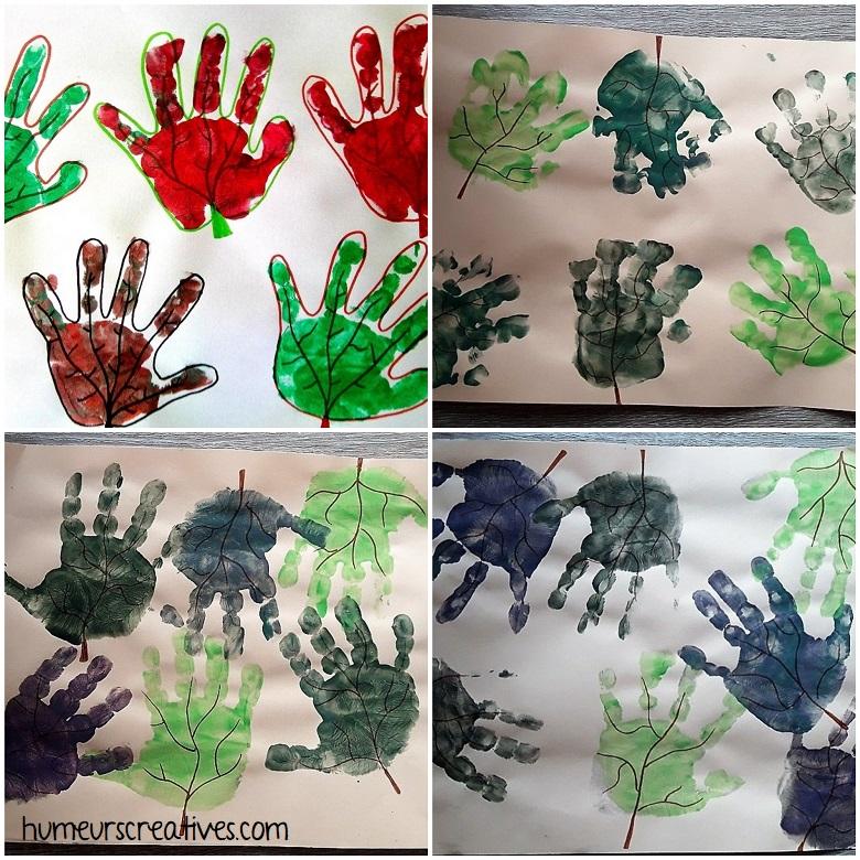 feuilles d'arbres en empreintes de mains