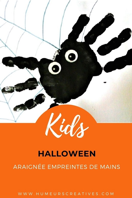 Bricolage d'Halloween : araignées en empreintes de mains