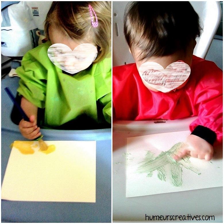 découverte de la texture de la peinture gonflante par les enfants