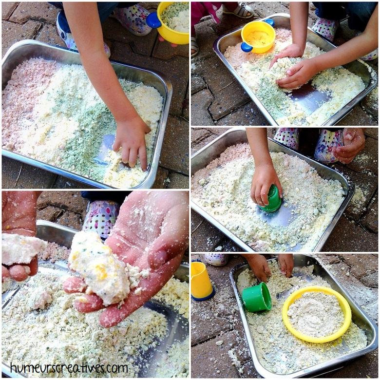 manipulation du sable de lune par les enfants