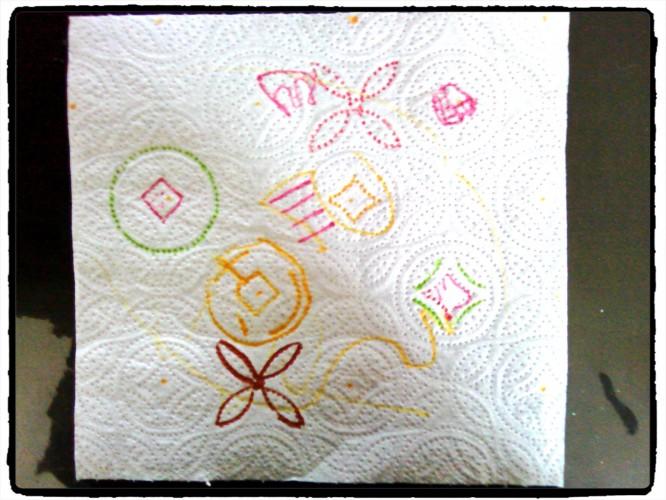 Le dessin sur papier essuie-tout