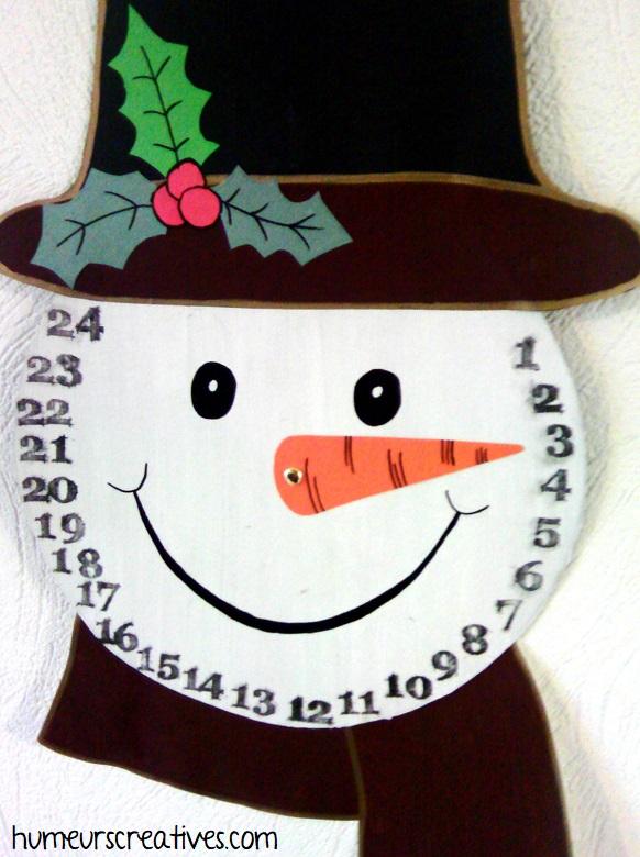 bonhomme de neige en guise de calendrier de l'avent
