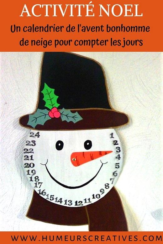 Fabriquer un calendrier de l'avent en forme de bonhomme de neige pour décompter les jours