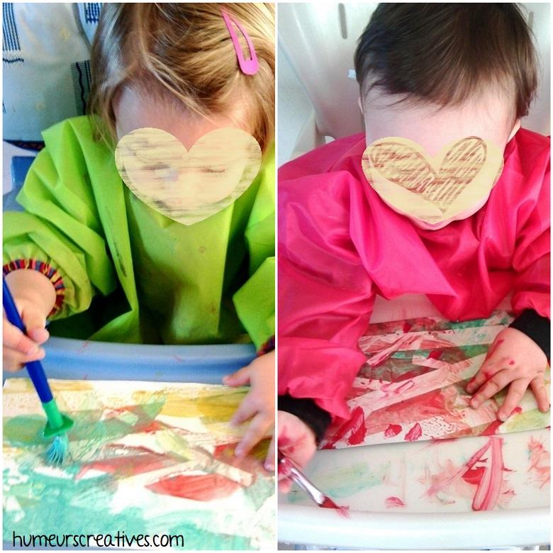 peinture des enfants pour réaliser les arbres d'automne