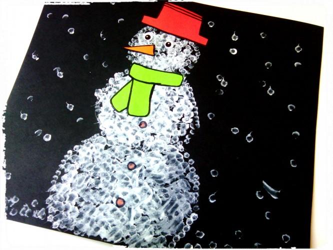 Bonhomme de neige en coton tige
