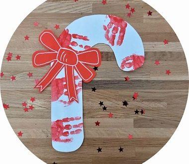 Sucre d'orge en empreintes de mains à faire avec les enfants pour Noël