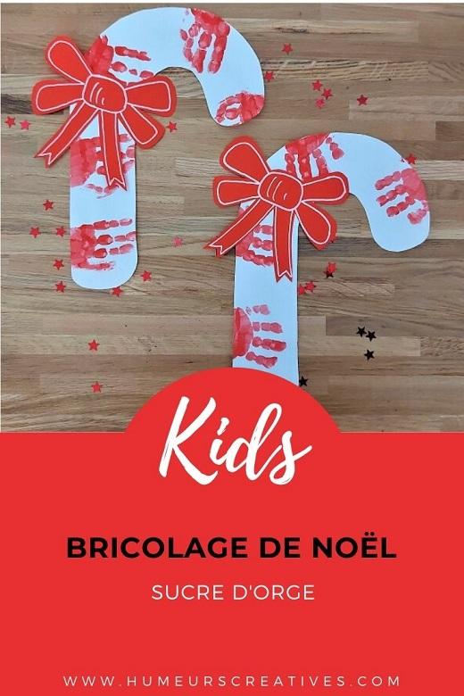 Bricolage de Noël pour enfants  : des sucres d'orge en empreintes de main