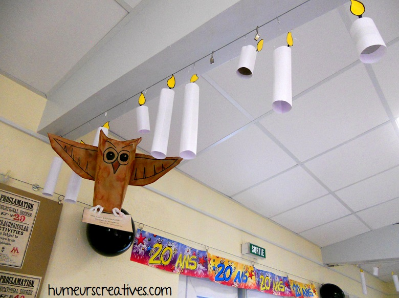 fabrication des hiboux pour réaliser une décoration d'anniversaire sur le thème Harry Potter