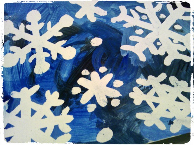 Flocons de neige au drawing gum