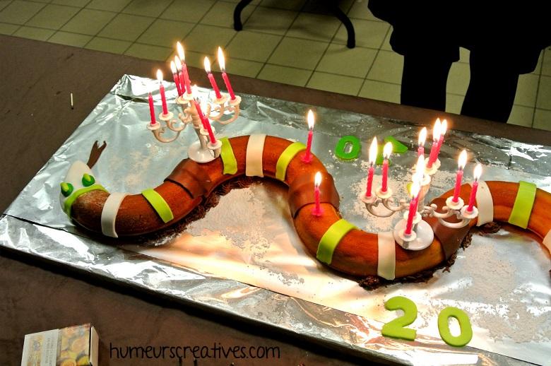 gateau d'anniversaire facile Harry Potter en forme de basilic