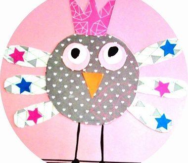 Oiseau en papier, bricolage et collage pour enfants