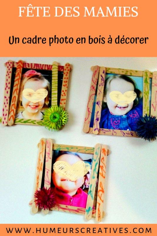 bricolage pour la fête des mamies : un cadre photo en bois à décorer par les enfants