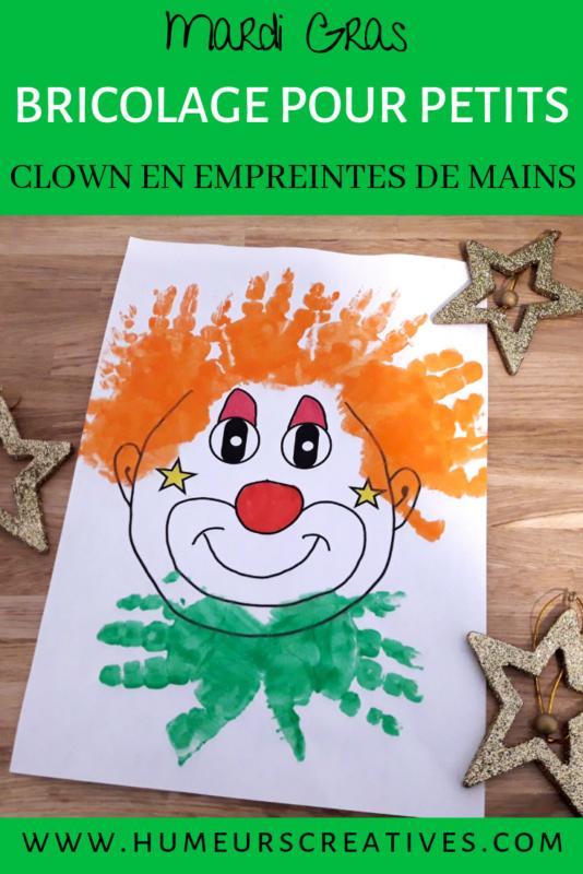 présentation bricolage pour enfants clown en empreintes de mains