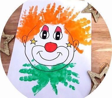 Clown en empreinte de mains à faire avec les enfants