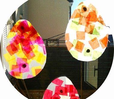 bricolage de paques : oeufs en attrapes soleil