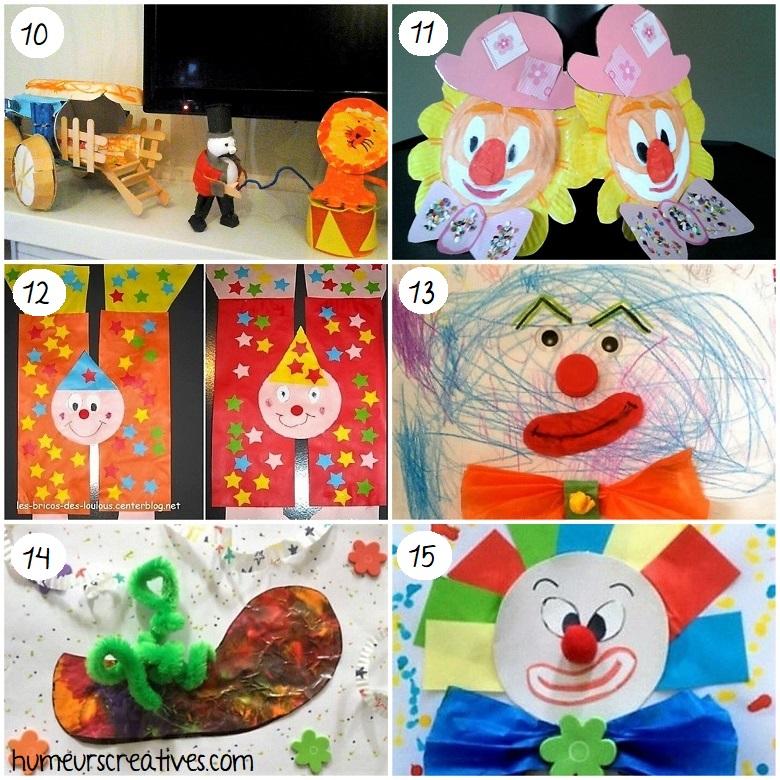 Bricolages pour enfants autour du cirque