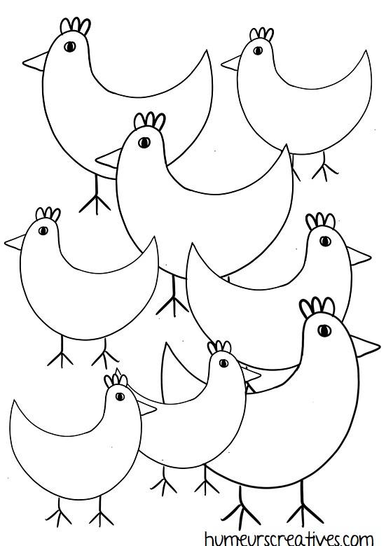 fiche poules à imprimer pour les enfants