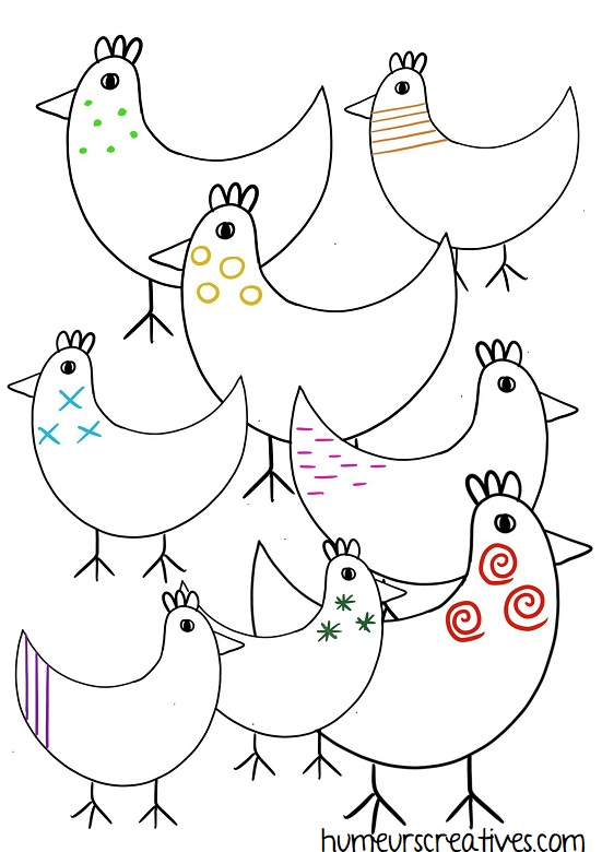 fiche poules à imprimer graphisme enfants
