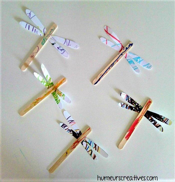 Libellules réalisées avec des bâtonnets en bois
