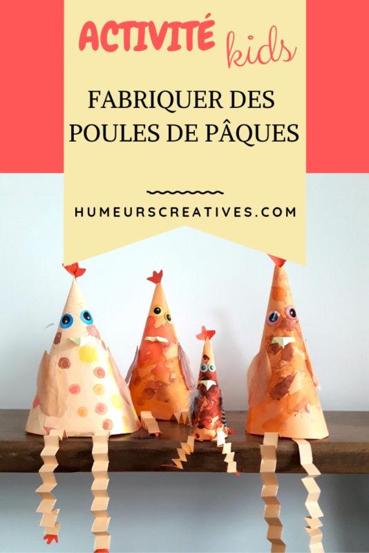 bricolage de paques pour enfants : réaliser des poules en forme de cône