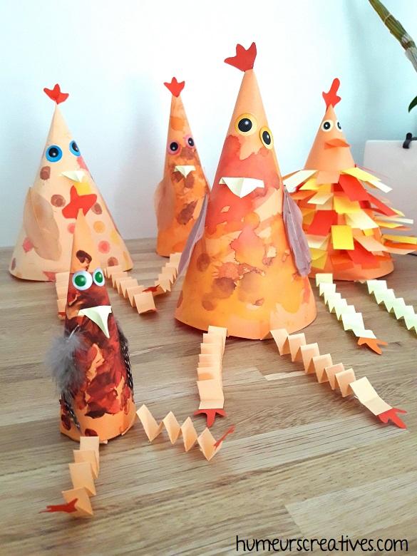 nos poules de paques en forme de cone