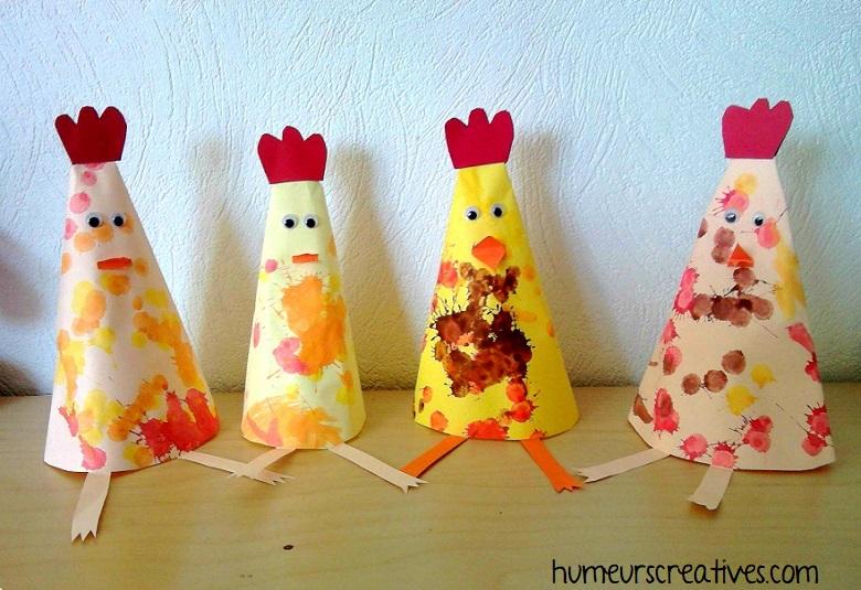 poules de paques en forme de cone