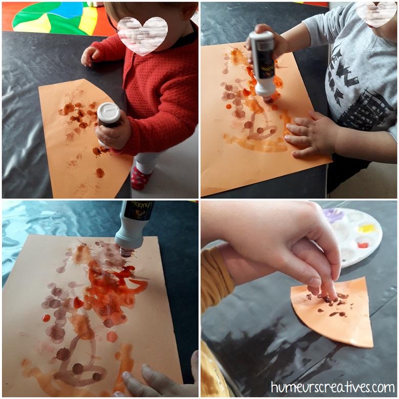 Décoration de notre poule avec des marqueurs à encre