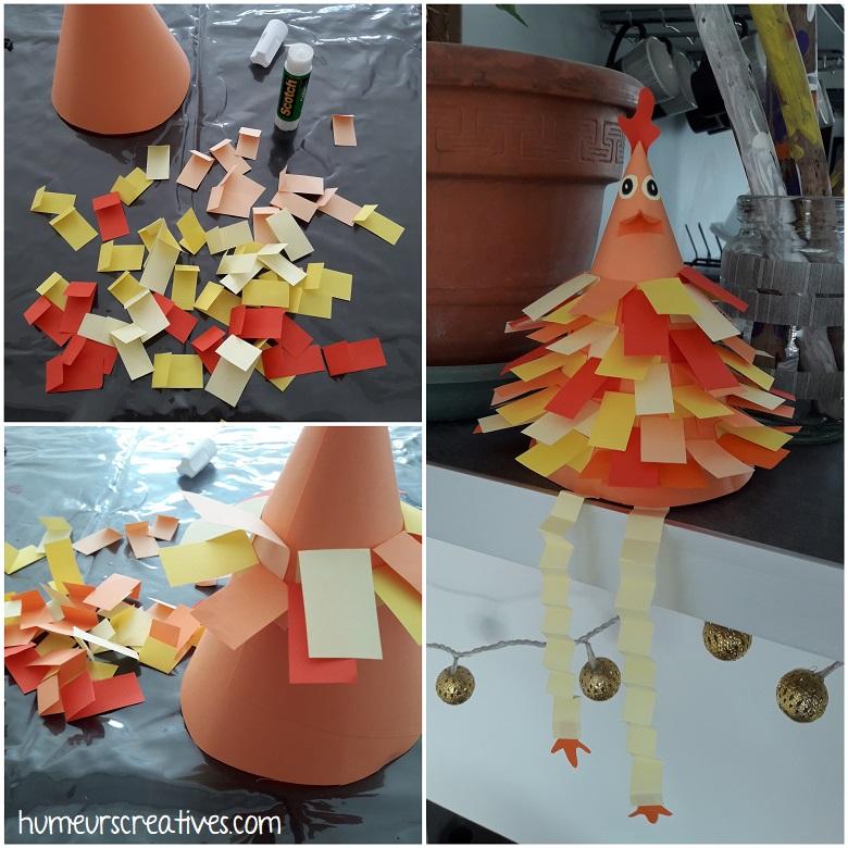 une poule en cône avec collage de petits papiers