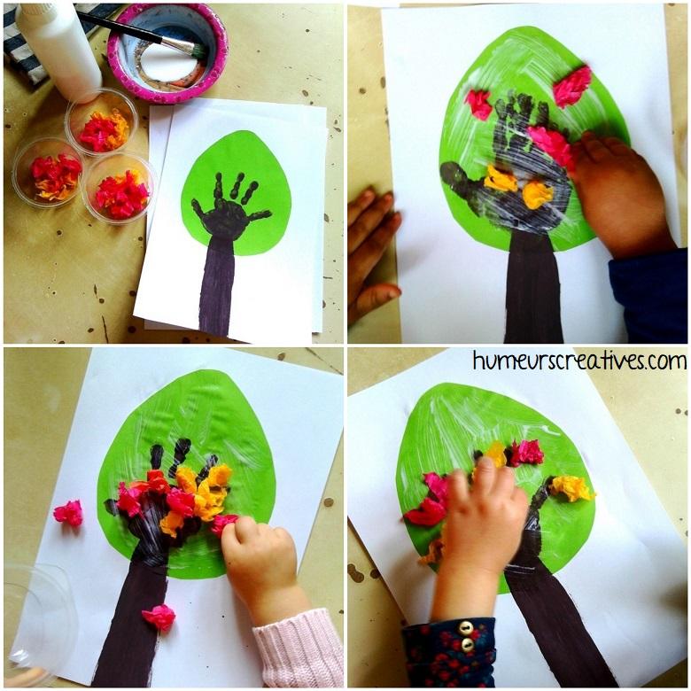 collage de papier crépon sur l'arbre de printemps