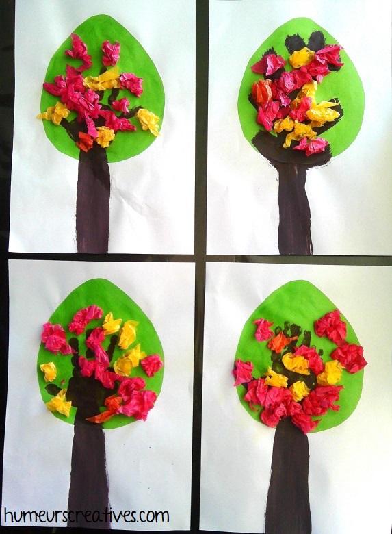 bricolage arbre printanier réalisés par les enfants