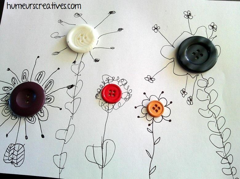 bricolage de fleurs en graphisme autour d'un bouton