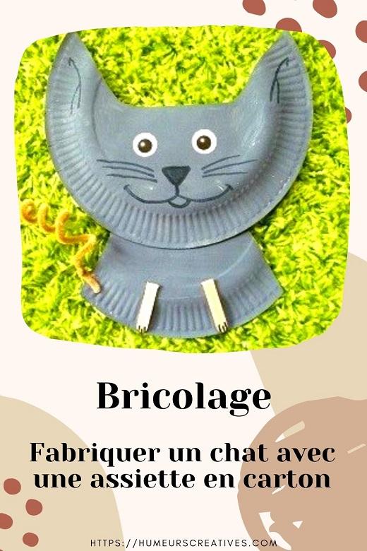 Bricolage pour enfant : fabriquer un chat avec une assiette en carton