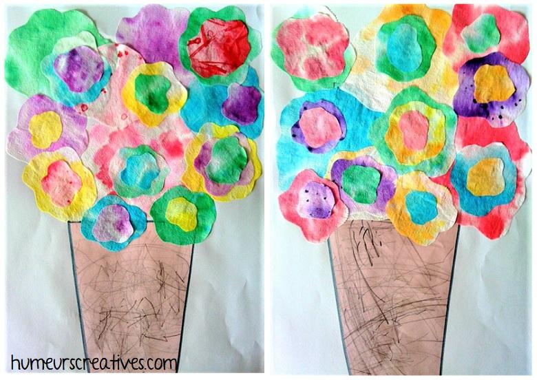 pot de fleurs réalisés en filtre à café avec les enfants