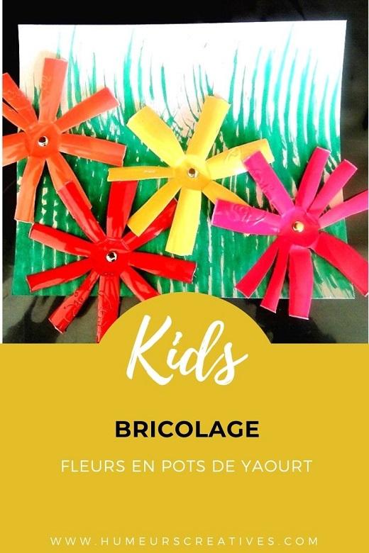 Bricolage pour enfants : un tableau fleurs réalisés avec des pots de yaourt recyclés