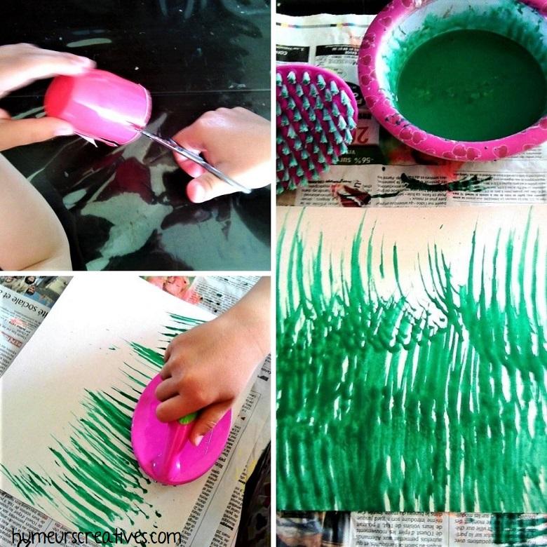Dessiner de l'herbe à la peinture avec une brosse
