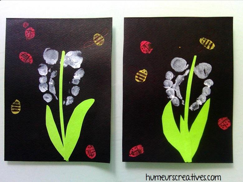 réalisation du muguet avec collage de papier vert