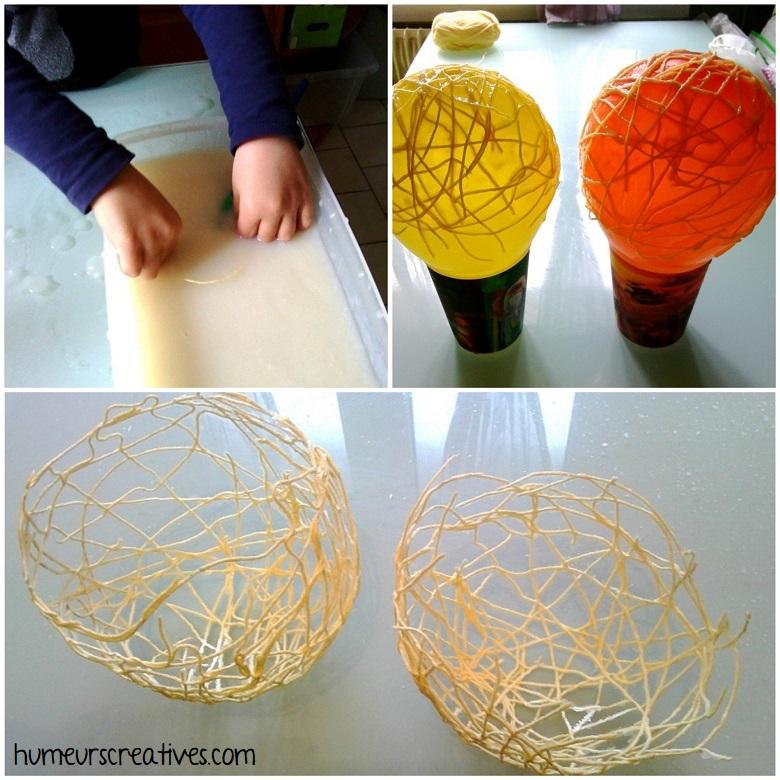 réalisation des nids avec de laine et colle maison sur un ballon de baudruche
