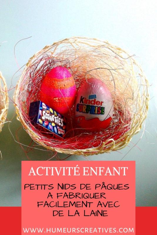 bricolage de paques pour enfants : des nids en laine