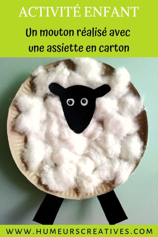 bricolage pour enfants : shaun le mouton en assiette en carton