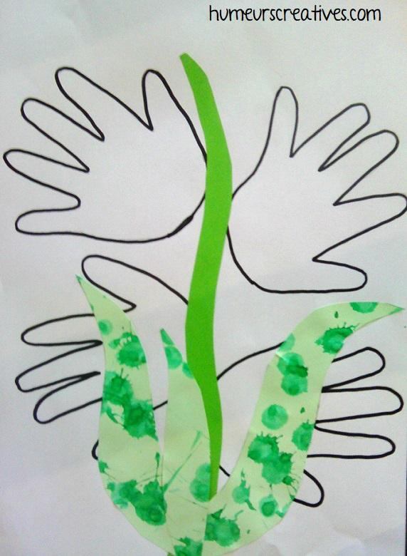 bricolage muguet avec le contour des mains des enfants