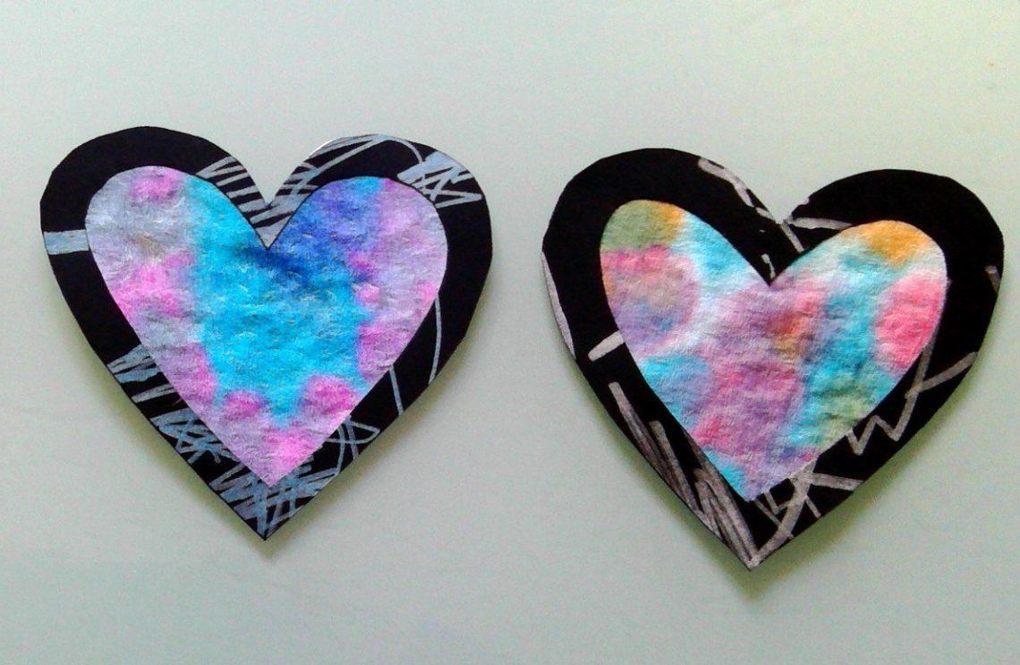 bricolage attrape soleil en forme de coeur pour enfant