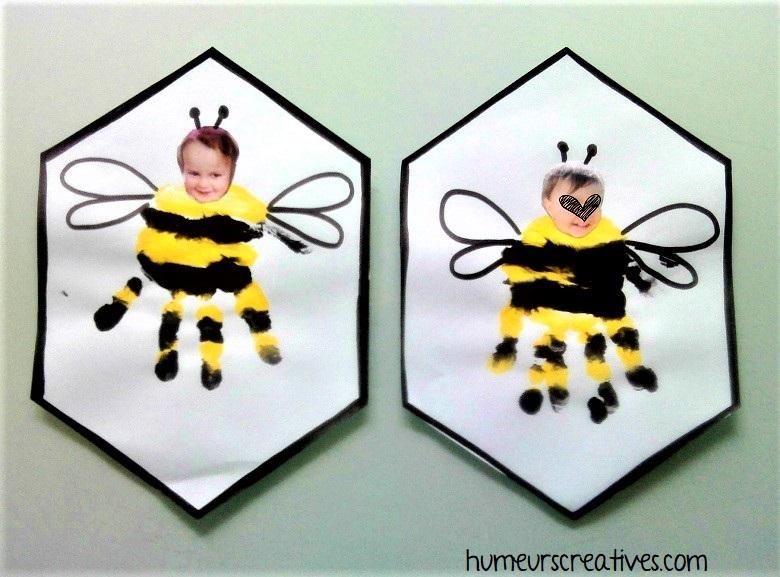 abeille  en empreinte de mains à faire avec les enfants