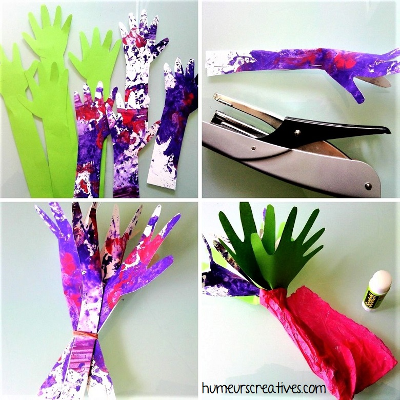 découper les contours de mains pour fabriquer le bouquet